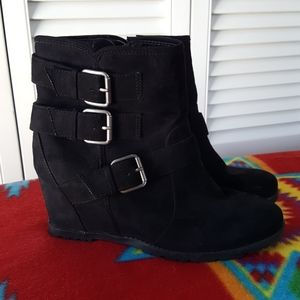 UNISA Black Suede Wedge Booties
